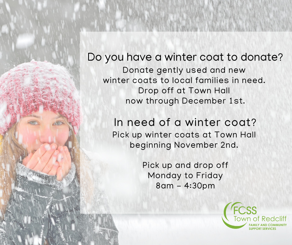 Donate your winter coat, or pick up a winter coat if in need at Town Hall