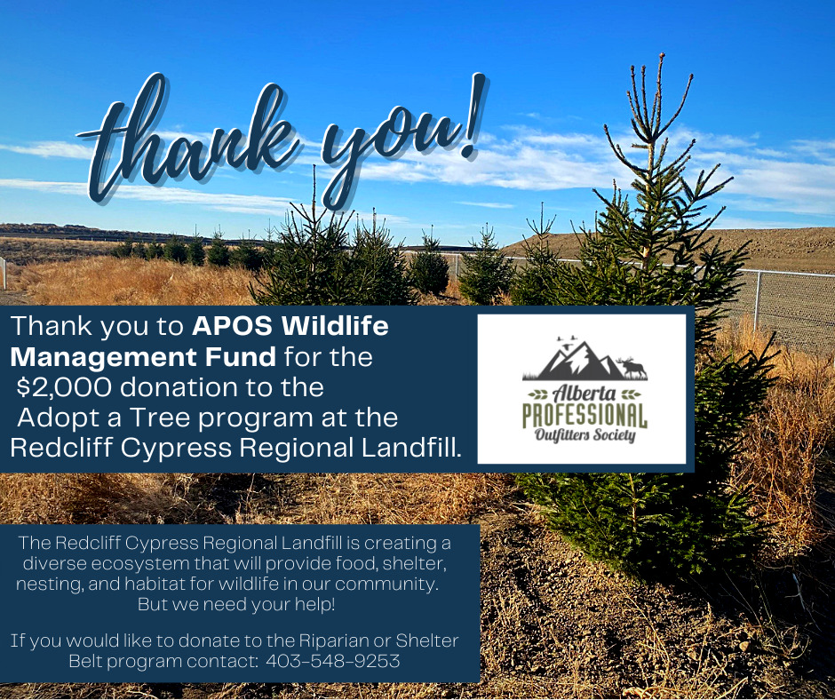 Thank you to APOS Wildlife Management Fund for a $2,000 donations to the Adopt a Tree Program