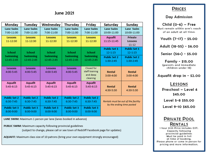 Aquatic Centre June Schedule with Pricing