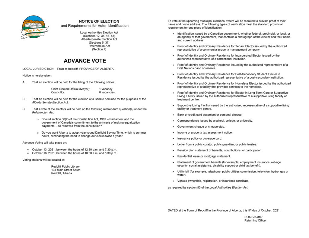Notice of Election Advance Vote for Website - October 6, 2021