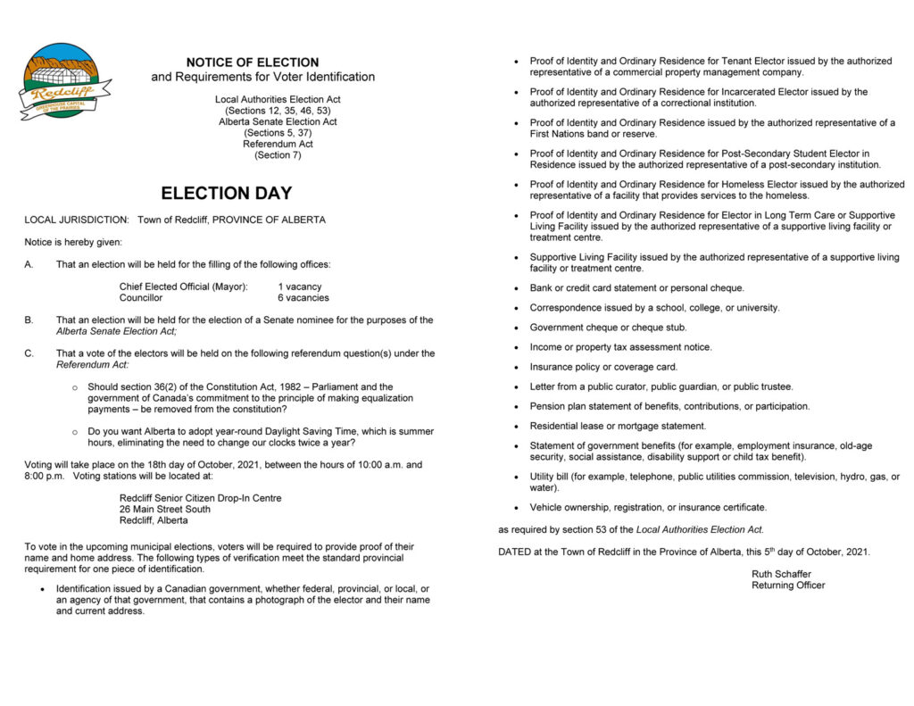 Notice of Election Day and Requirements for Voter Identification